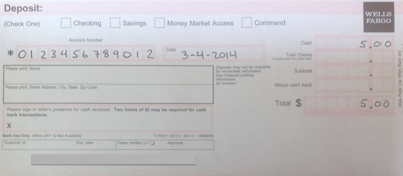 Satisfactory image with wells fargo deposit slip printable